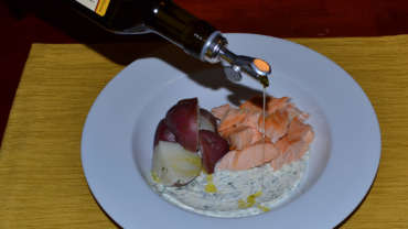 Roasted Salmon with Potatoes and Herb Creme Fraiche