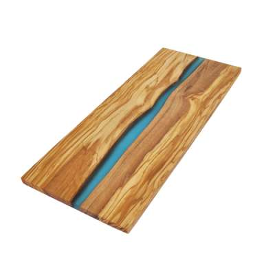 Olive Wood Board with River of Blue Resin Olive Wood Board with River of Blue Resin OLIVE WOOD RECTANGLE CUTTING BOARD WITH RIVER OF BLUE RESIN – 15″ X 6″