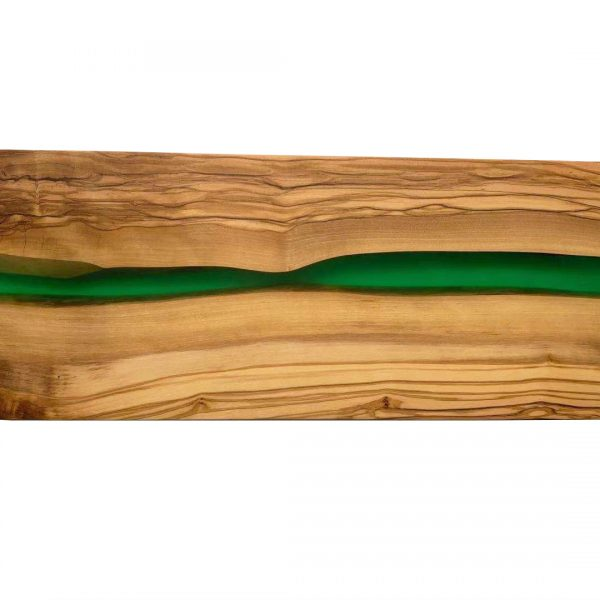 OLIVE WOOD RECTANGLE CUTTING BOARD WITH RIVER OF GREEN RESIN – 15″ X 6″