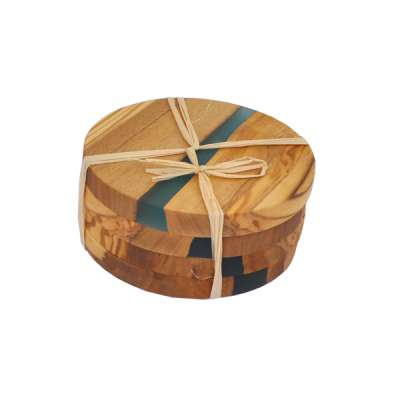 TFO | Olive Wood Coasters (Blue Resin)