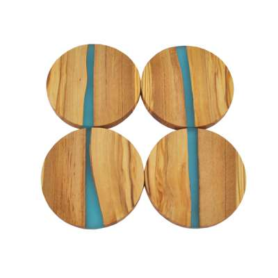 TFO | Round Olive Wood Coasters (Blue Resin)