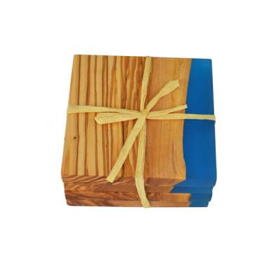 TFO | Square Olive Wood Coasters (Blue Resin)