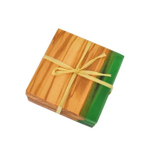 TFO | Square Olive Wood Coasters (Green Resin)