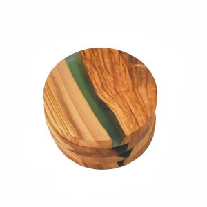TFO | Round Olive Wood Coasters (Green Resin)